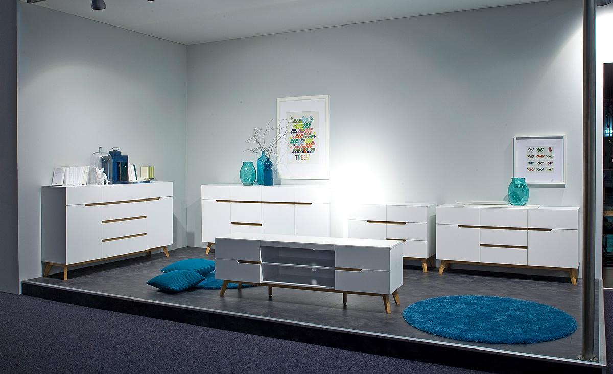 Alce porta tv bianco opaco e rovere mobile soggiorno moderno - Mobili di rovere ...