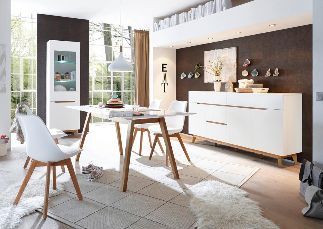 Alce porta tv bianco opaco e rovere mobile soggiorno moderno for Mobile sala bianco