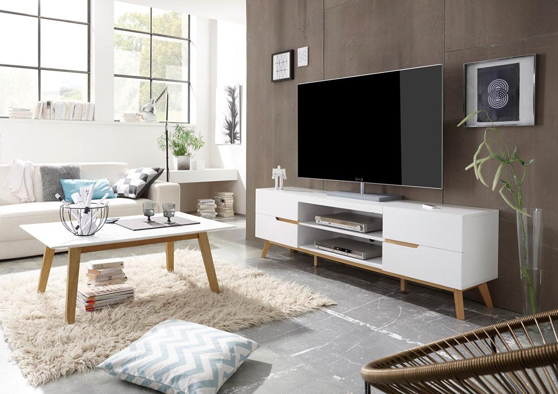 Alce porta tv bianco opaco e rovere mobile soggiorno moderno for Mobili salotto design