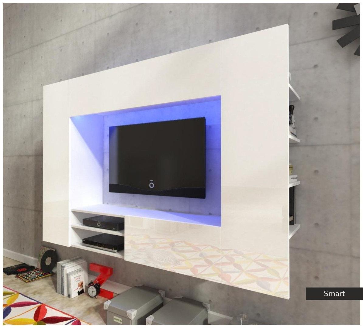 Soggiorno moderno bianco smart mobile porta tv appeso - Mobile tv soggiorno ...