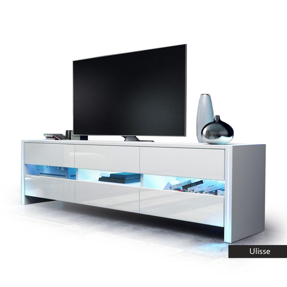 Porta tv design Ulisse, mobile moderno per soggiorno giovane in 5 colori  con led