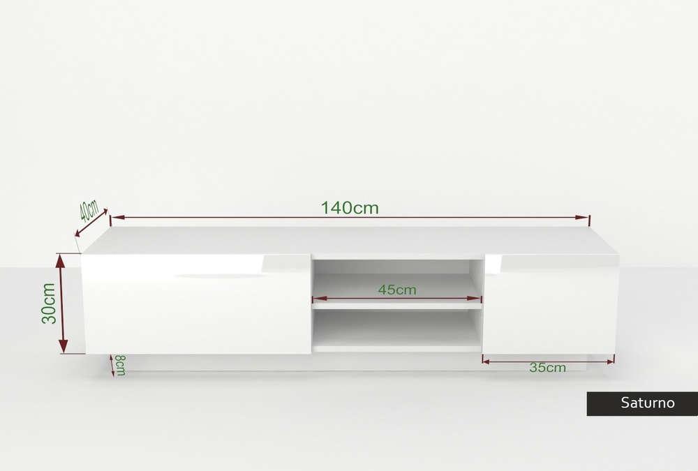 Porta tv moderno Saturno, mobile soggiorno appeso o appoggiato