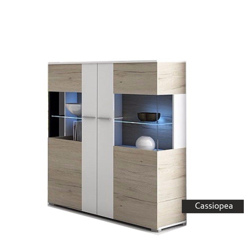 Vetrina moderna con led Cassiopea,mobile rovere bianco