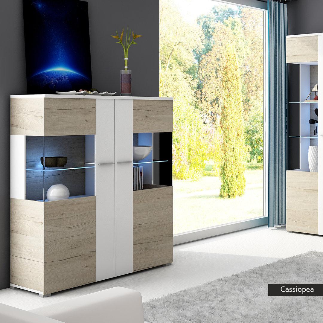 Vetrina moderna con led cassiopea mobile rovere bianco for Sala soggiorno