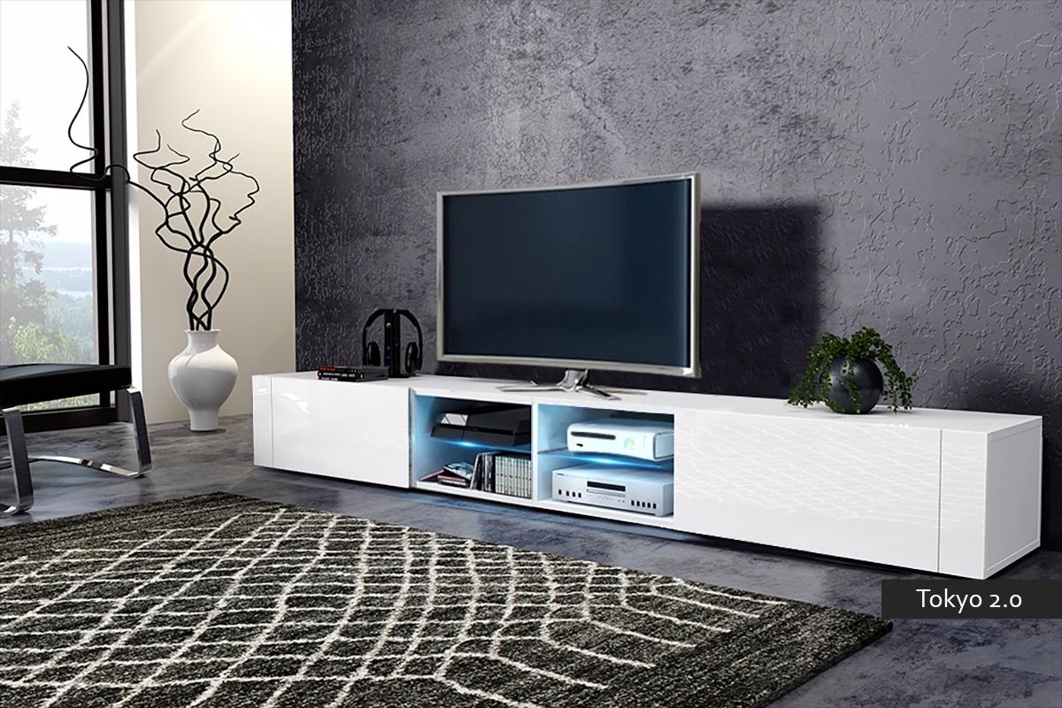 Mobile soggiorno tokyo 2 0 porta tv moderno con led 200 cm - Mobile soggiorno moderno ...