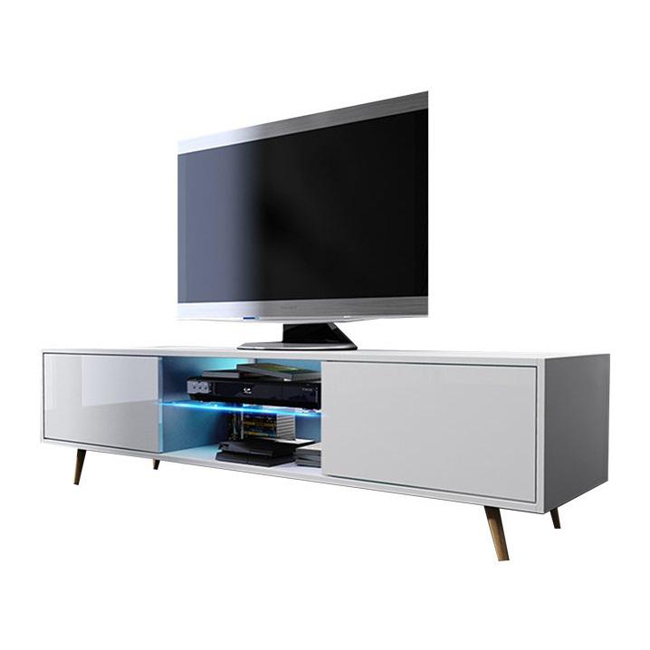 Mobile soggiorno moderno Archimede, bianco, nero, rovere, porta tv con led  incluse