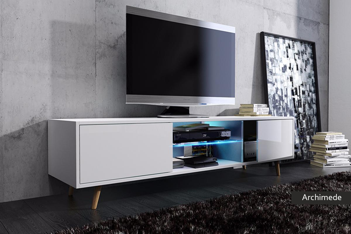 Mobile soggiorno moderno archimede bianco nero rovere - Mobile soggiorno tv ...