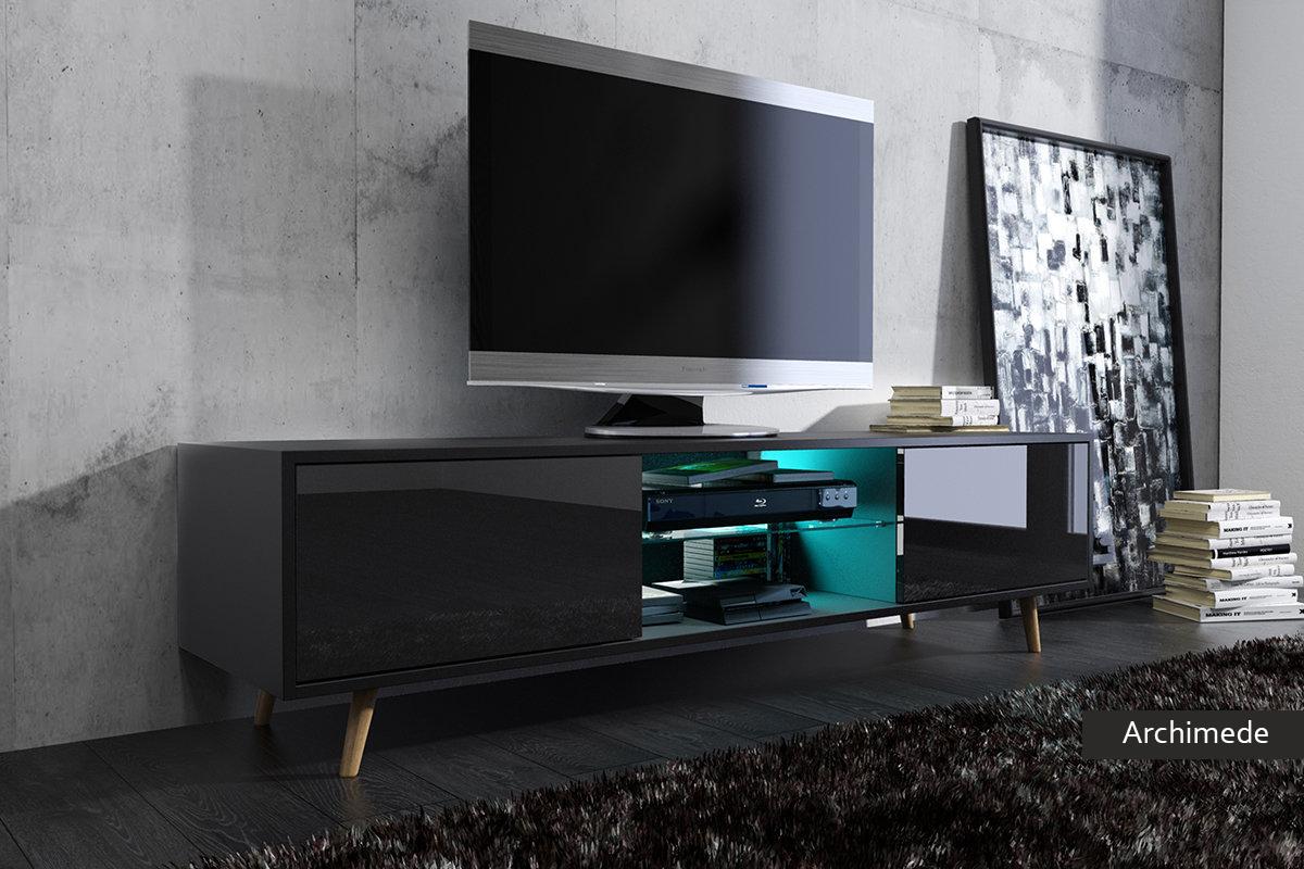 Mobile soggiorno moderno archimede bianco nero rovere - Porta tv nero ...