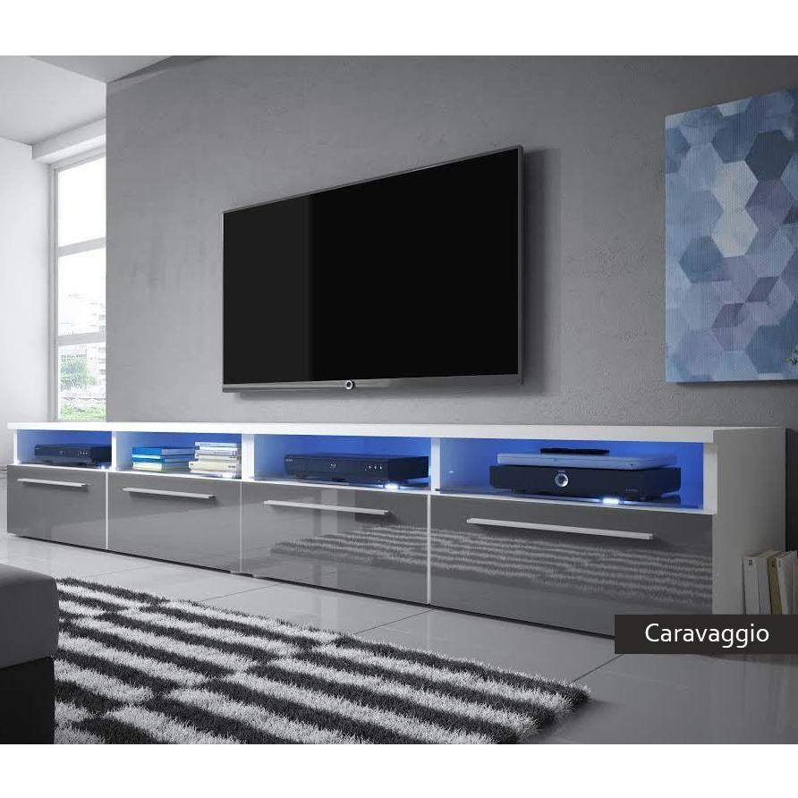 Mobile per televisore Caravaggio, porta tv per soggiorno moderno, led  incluse, in 4 colori