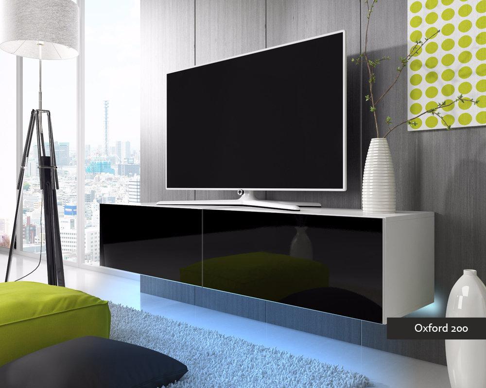 Porta tv Oxford 200, soggiorno con led blu o rosse, mobile appeso
