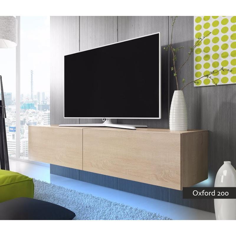 porta tv oxford 200, soggiorno con led blu o rosse, mobile appeso - Soggiorno Moderno Sospeso 2