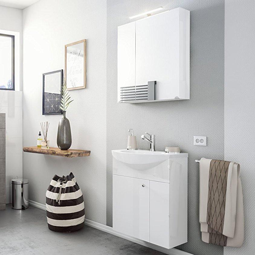Bagno sospeso bianco Clear, mobile con lavabo, lavandino