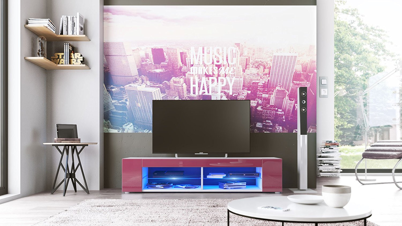 porta tv vasco, mobile minimalista con led blu, per soggiorno - Soggiorno Fucsia