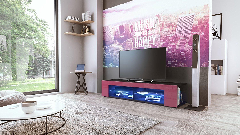 mobile soggiorno vasco nero, porta tv in 12 colori, con led - Soggiorno Fucsia
