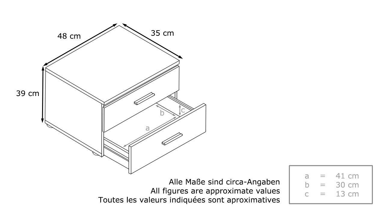 Falco comodino moderno corpo bianco e frontali a scelta - Misure standard camera da letto ...