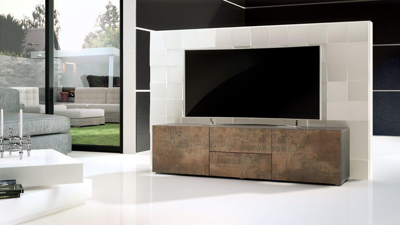Porta tv moderno modello pepsy colore acciaio antico mobile for Mobili salotto moderno