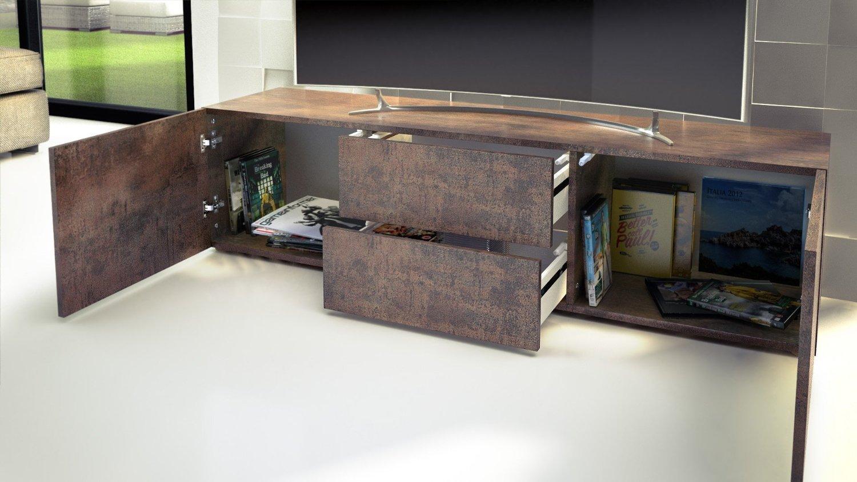 porta tv moderno modello pepsy colore acciaio antico mobile - Mobile Soggiorno Antico