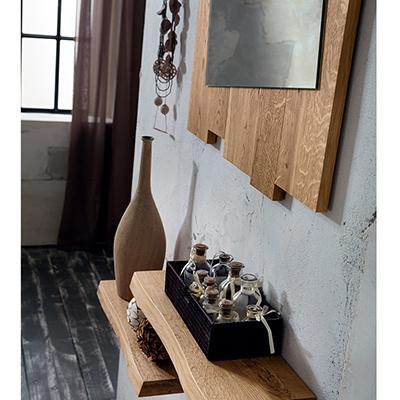 Ingresso in legno massiccio di rovere, collezione Adige, specchio mensole  appendiabiti design