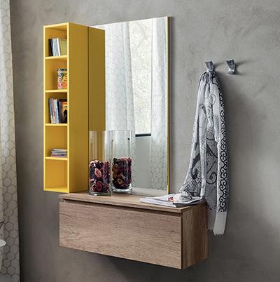 Ingresso colorato Nilo N2, mobile con specchio, libreria