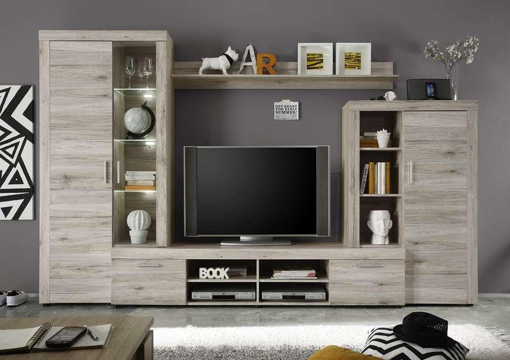 Soggiorno moderno IAGO, composizione parete porta tv con led