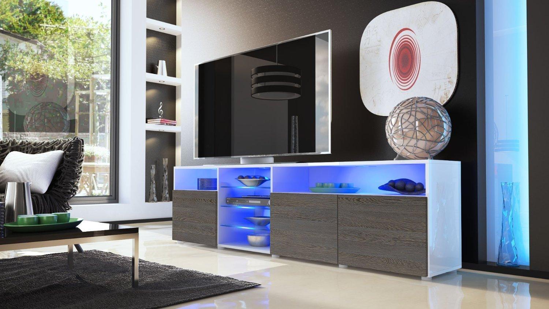 Porta tv moderno Mozart, mobile soggiorno bianco o nero