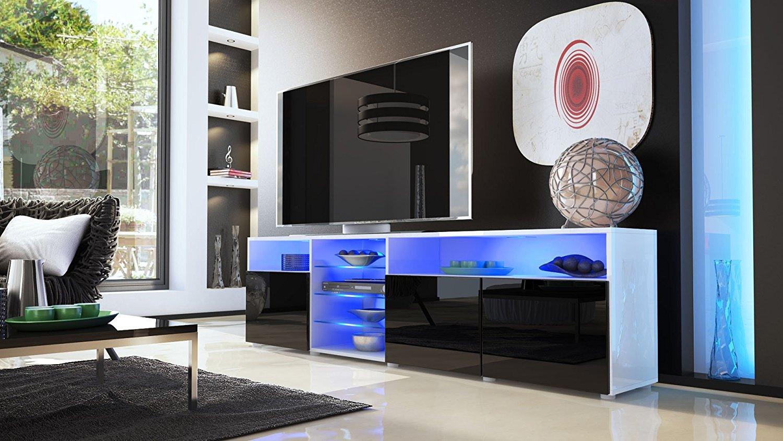Porta tv moderno mozart mobile soggiorno bianco o nero - Mobile moderno per soggiorno ...