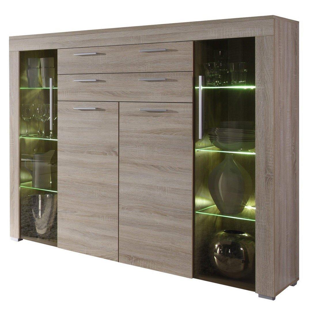 Vetrina moderna Azalea,credenza con led, mobile soggiorno ...