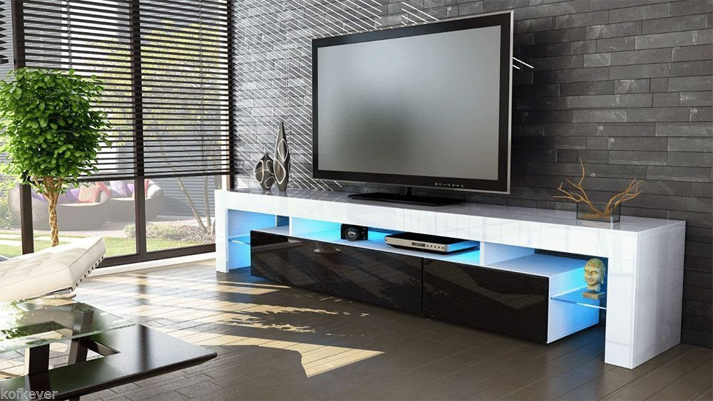 porta tv vivaldi mobile bianco con led rgb per soggiorno. Black Bedroom Furniture Sets. Home Design Ideas