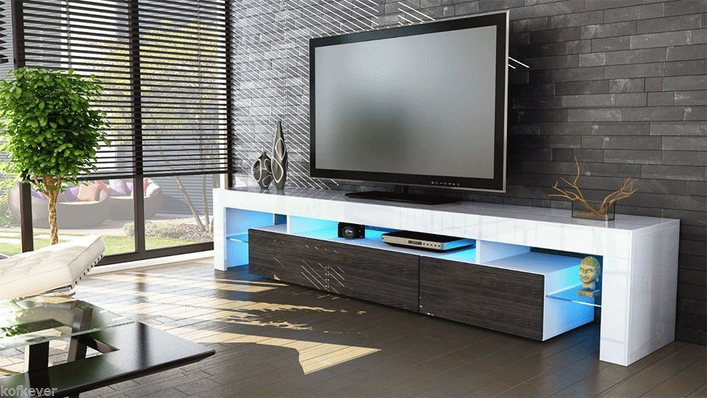 Porta tv Vivaldi, mobile bianco con led RGB per soggiorno moderno
