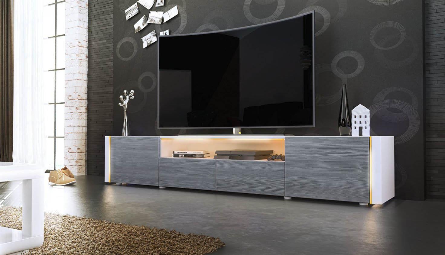 Casanova porta tv moderno mobile soggiorno bianco con led - Mobile soggiorno tv ...
