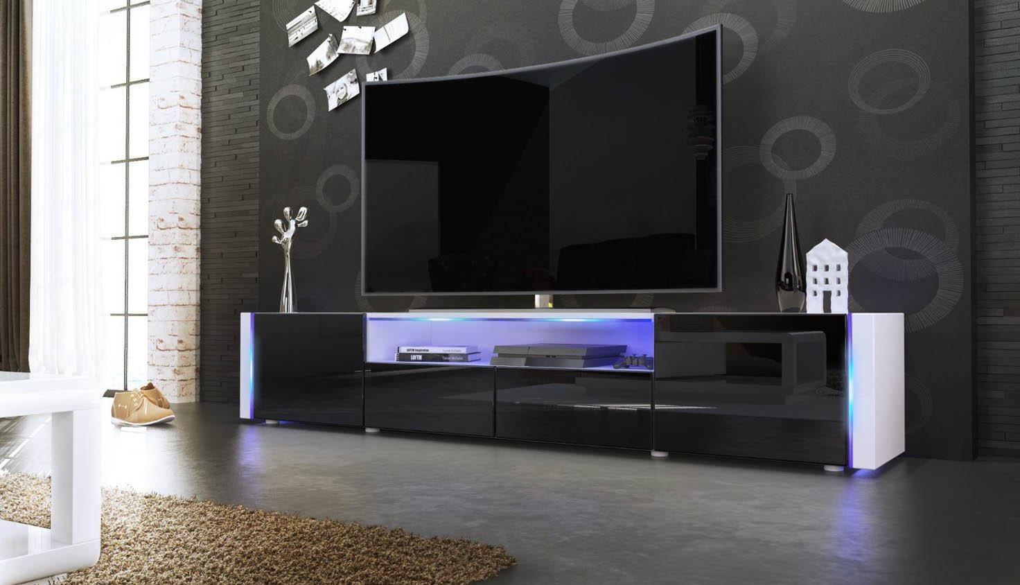 Casanova porta tv moderno mobile soggiorno bianco con led for Mobile soggiorno moderno