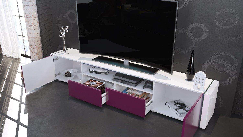 Mobile Tv Moderno Bianco : Casanova porta tv moderno mobile soggiorno bianco con led