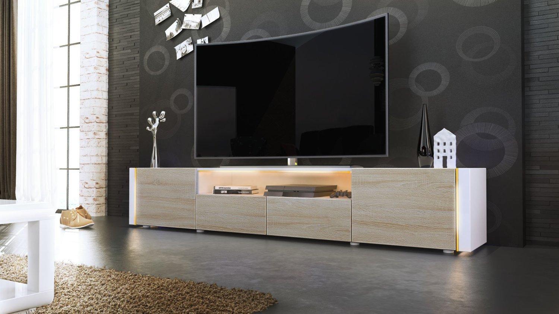 Casanova porta tv moderno mobile soggiorno bianco con led for Mobili porta tv moderni economici