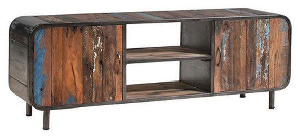 Porta tv moderno Senior, mobile soggiorno in legno stile vintage