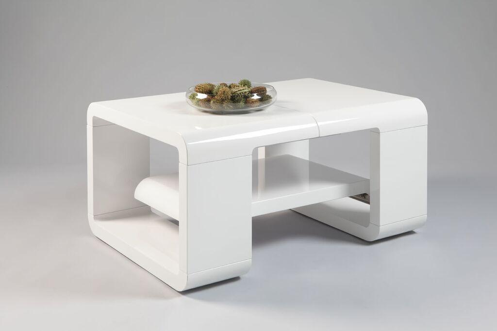 Tavolino da caffè Good, tavolo moderno di design bianco o rovere