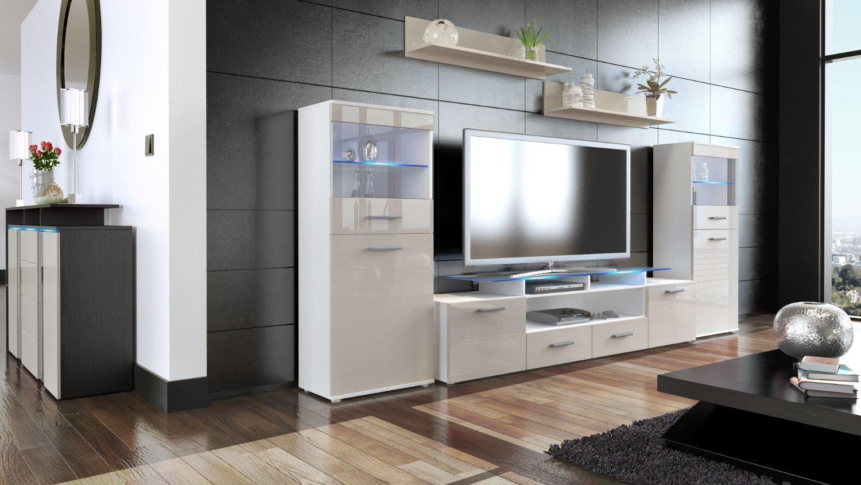 F22 mobile soggiorno porta tv in 13 colori con luci a led rgb for Mobile soggiorno bianco