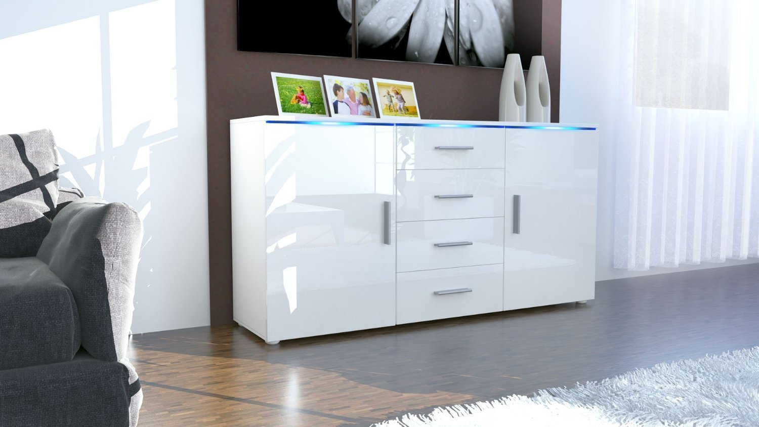 credenza bianca messina madia moderna in 2 dimensioni design. Black Bedroom Furniture Sets. Home Design Ideas