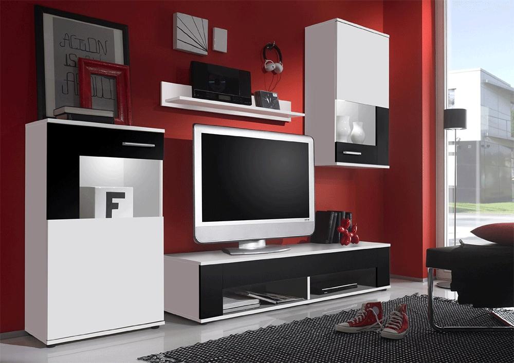 Firenze soggiorno moderno parete porta tv composizione design for Soggiorno bianco e nero