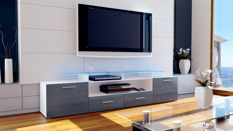 Milano 194 porta tv, mobile soggiorno moderno, porta tv bianco o nero