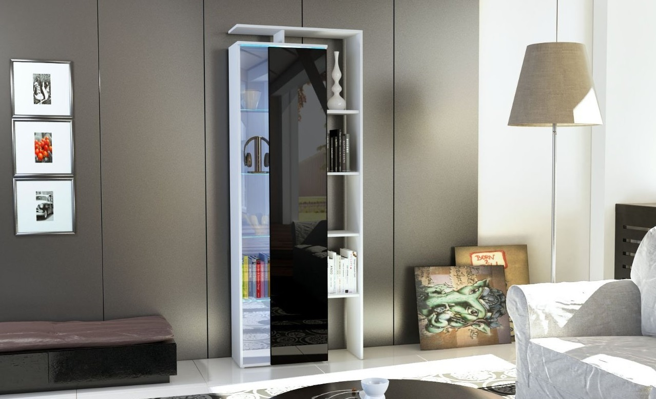 Vetrina moderna Gamonda, credenza design con led,mobile soggiorno