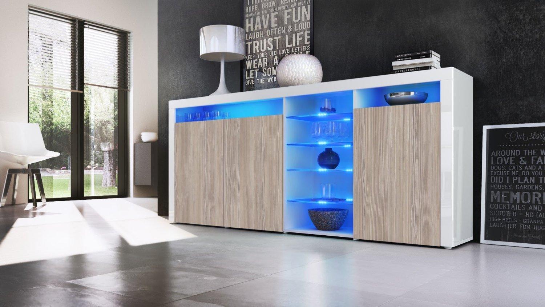 Credenza Moderna Di Design : Credenza moderna capri mobile soggiorno con led colori di design