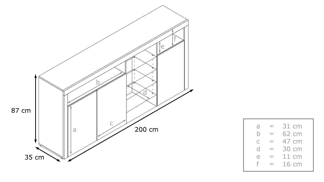 Credenza moderna Capri,mobile soggiorno con led, colori di design