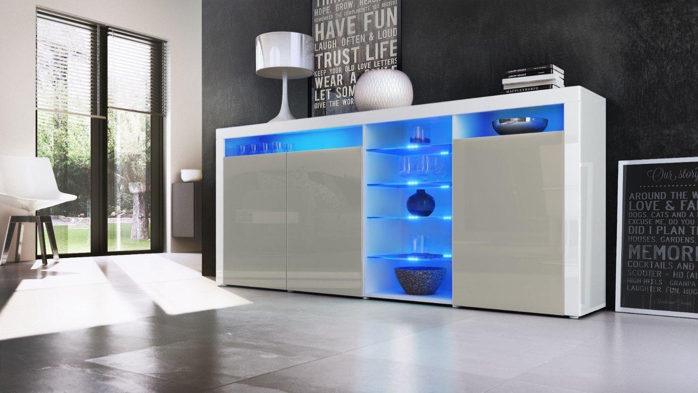 Credenza Con Vetrina Moderna : Credenza moderna capri mobile soggiorno con led colori di design