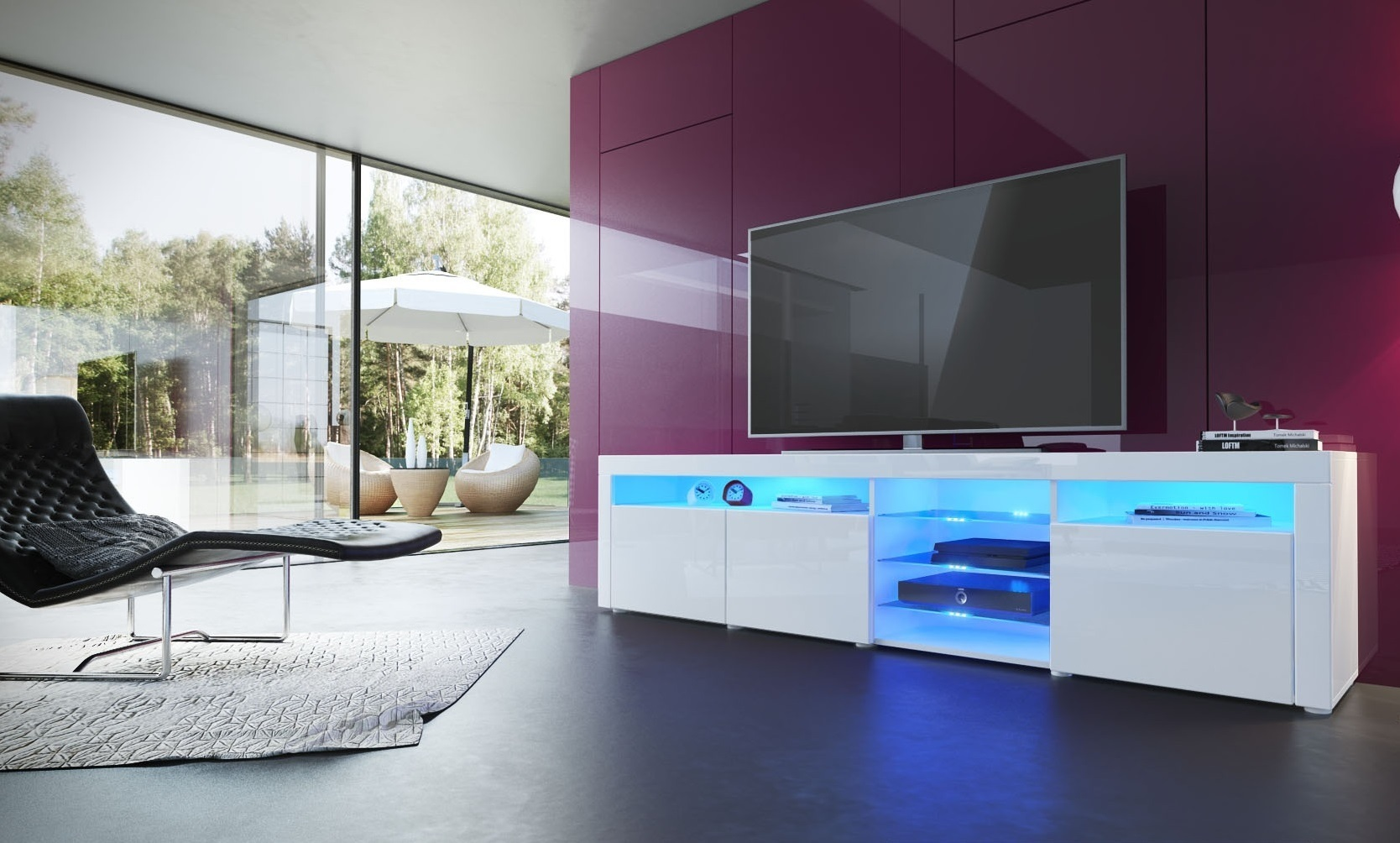 Porta tv moderno Capri, mobile soggiorno, colori design, con led