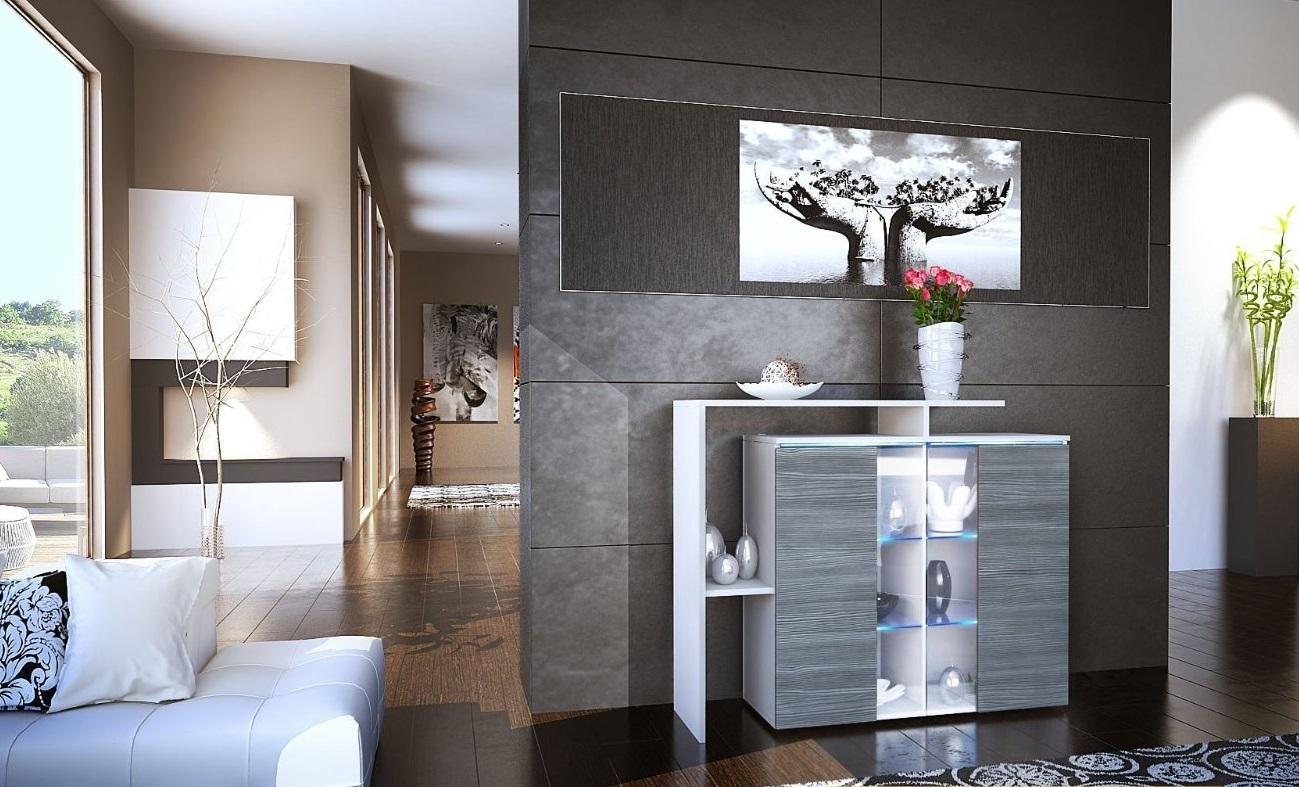 Comò moderno Rock,mobile per soggiorno design, 13 colori con led
