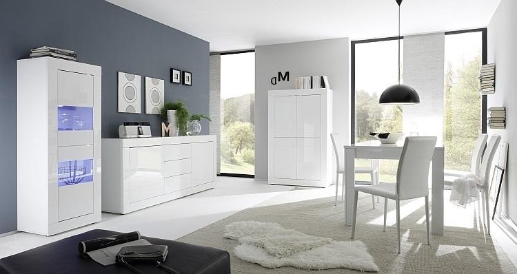 Credenza Vetrina Moderna Bianca : Vetrina moderna square v credenza con led mobile soggiorno