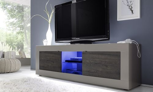 Porta tv Square A31, mobile tv moderno, soggiorno di design con led