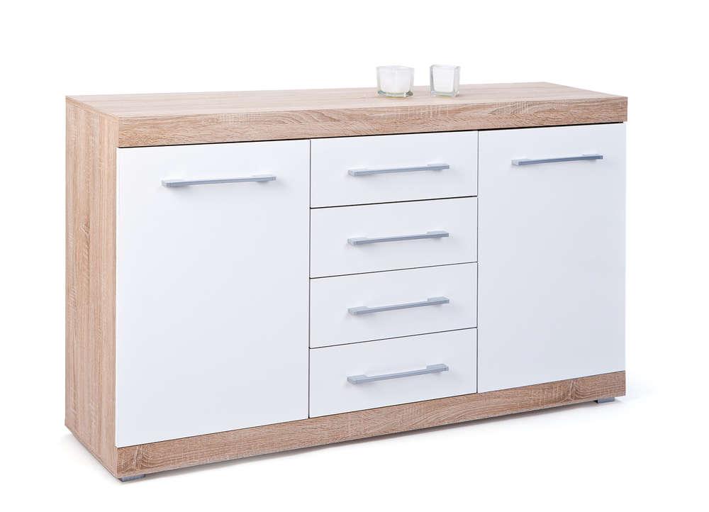Credenza Moderna Bianca : Credenza moderna in legno laccato bianca beige sestante