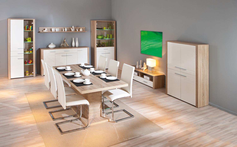 Porta tv Carlo 23, mobile tv moderno, soggiorno bianco e rovere