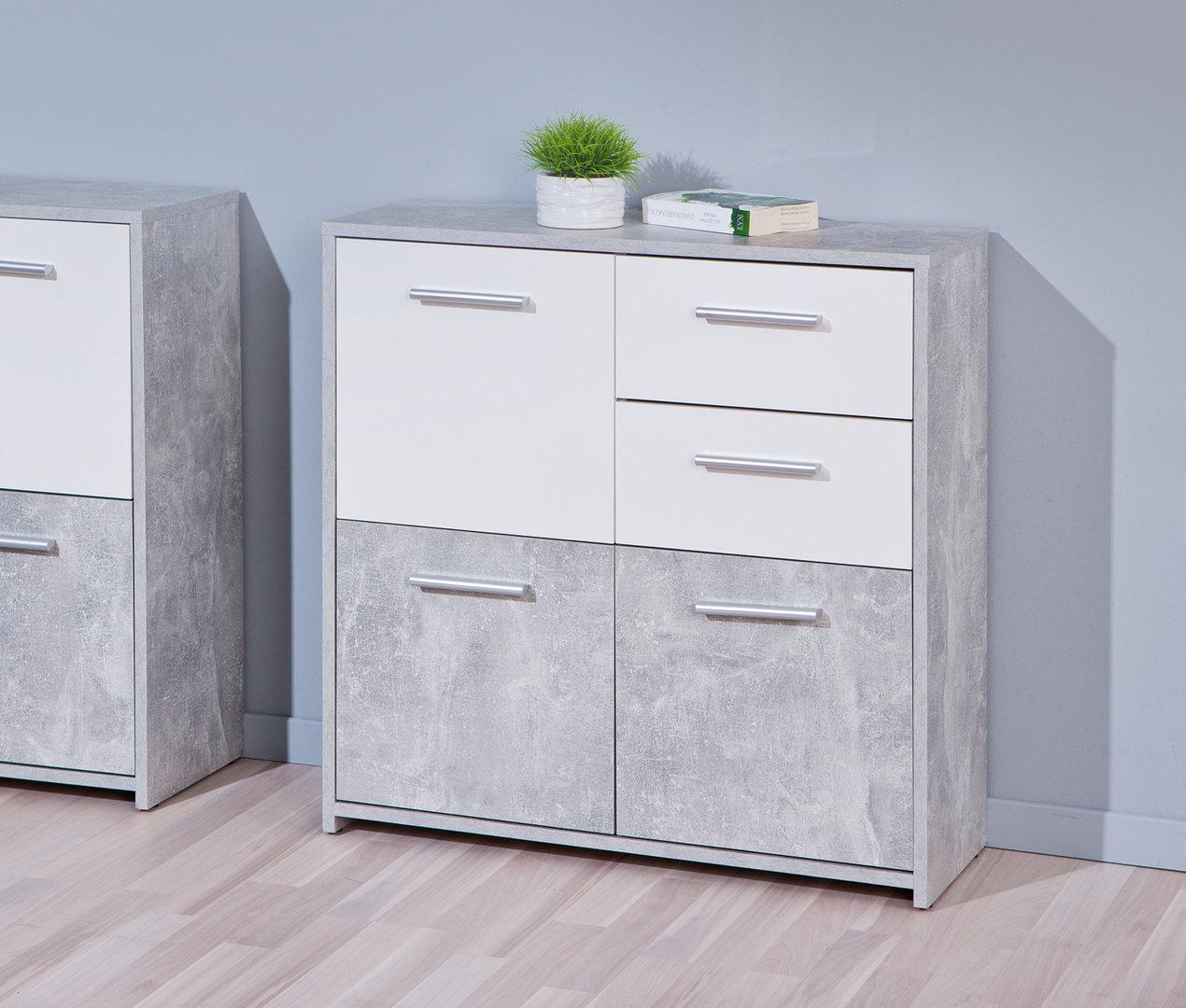 Igor mobiletto bianco e cemento, soggiorno moderno di design